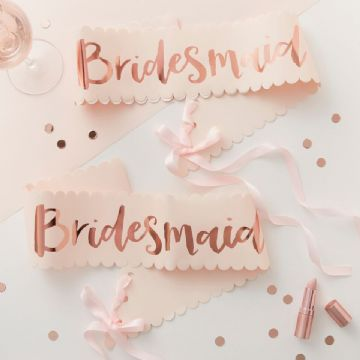 Team Bride Pink & Rose Gold Bridesmaid Sashes - pack of 2